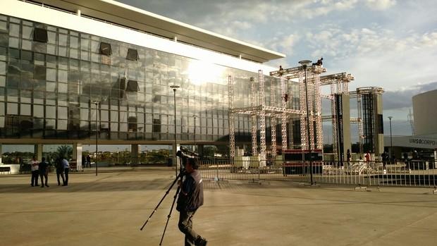 Centro Oscar Niemeyer, local do velório de Cristiano Araújo (Foto: Ruber Couto)