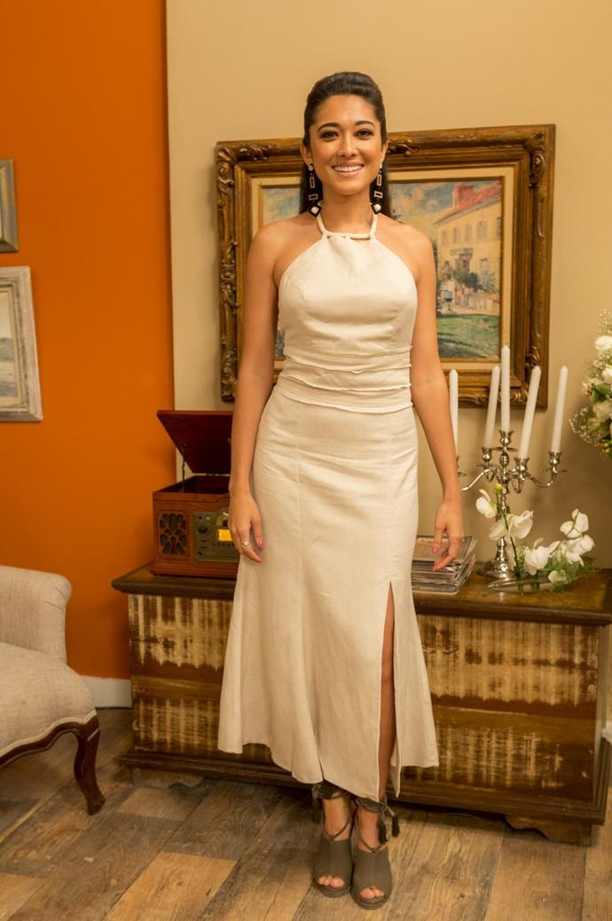 Assim como a atriz, Yumi investe em vestidos para ocasiões especiais (Foto: Ellen Soares / Gshow)