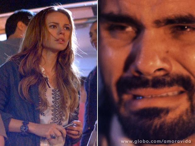 Antes de ser preso, ele e Paloma ainda trocam olhares pela última vez... (Foto: Amor à Vida / TV Globo)