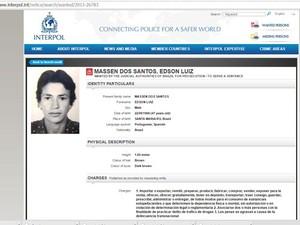 Edson Luiz Massen do Santos é suspeito de participar de quadrilha  (Foto: Reprodução/Interpol)