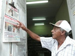Morador Paulo Maciel acompanhou desde cedo as notícias sobre o conterrâneo (Foto: Caio Gomes Silveira/G1)