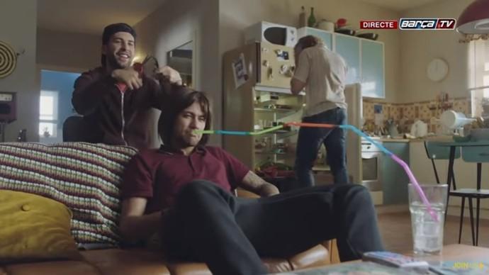 Neymar em comercial de patrocinador do Barça (Foto: Reprodução)