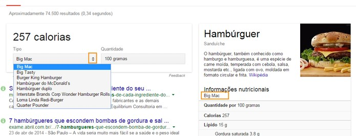 Escolha o tipo de alimento com ferramenta de personalização do Google (Foto: Reprodução/Barbara Mannara)