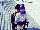Rafa Justus curte férias esquiando com Ticiane Pinheiro