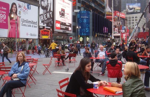 Projeto temporário na Times Square, em Nova York, da Gehl Architects (Foto: Gehl Architects)