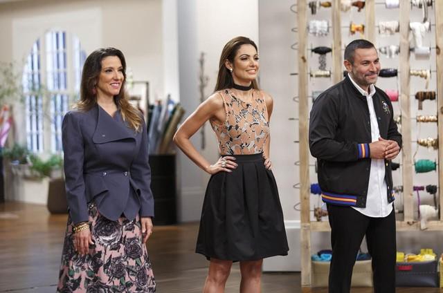 Isabela Capeto, Patricia Poeta e André Lima nas gravações de 'Caixa de costura' (Foto: Felipe Rocha)