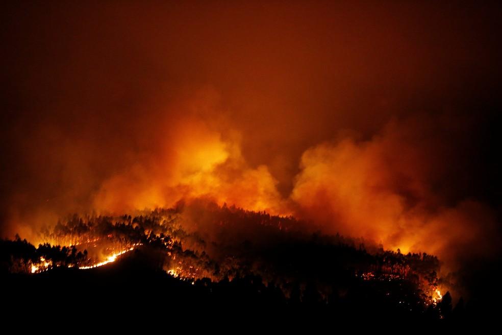 Floresta pega fogo perto de Tojeira, em Pedrógão Grande, no centro de Portugal (Foto: Rafael Marchante/Reuters)