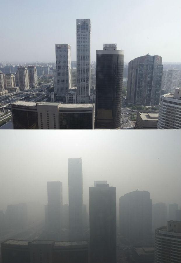 Imagem compara poluição em Pequim em 2010 e em 2013 (Foto: Jason Lee/ Reuters)