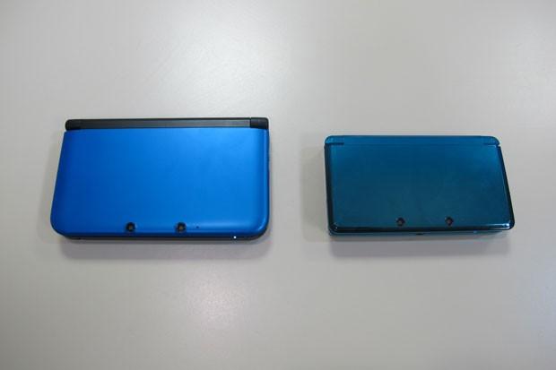 Os dois modelos do 3DS fechados (Foto: Gustavo Petró/G1)