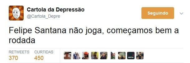 Zoação Felipe Santana fora Cartola (Foto: Reprodução)
