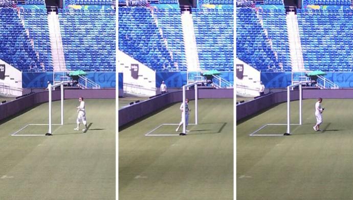 Fifa testa tecnologia do gol na Arena das Dunas (Foto: Fred Carvalho/GloboEsporte.com)