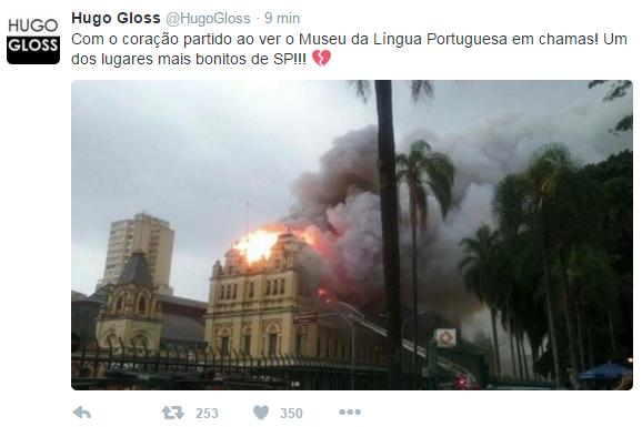 Hugo Gloss lamenta incêndio em museu de São Paulo (Foto: Twitter / Reprodução)