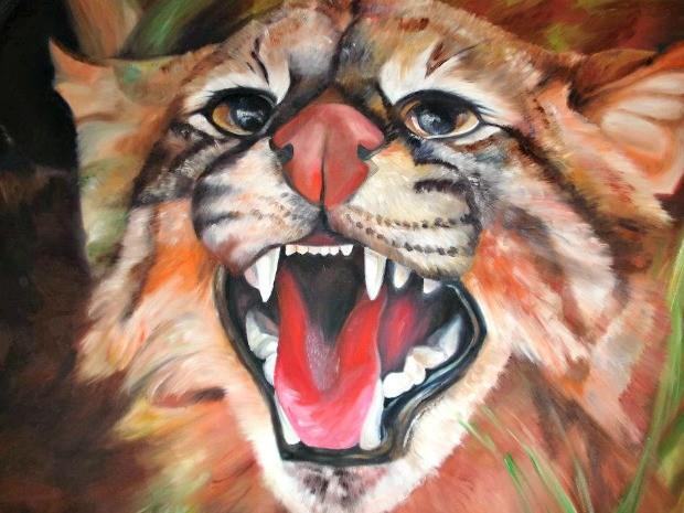 Tela pintada por artista plástica em Campo Grande (Foto: Graziela Rezende/G1 MS)
