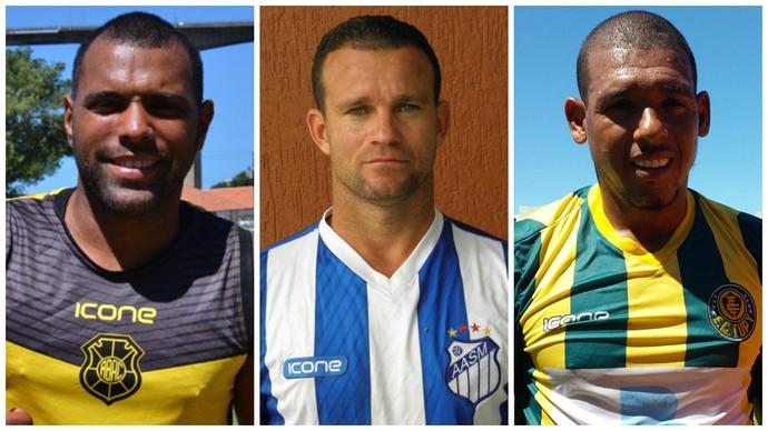 Márcio Carioca (Rio Branco-ES), Paulinho Pimentel (São Mateus) e Lambiru (Tupy-ES) (Foto: GloboEsporte.com)
