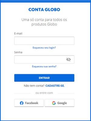 Login na Conta Globo  (Foto: Conta Globo)