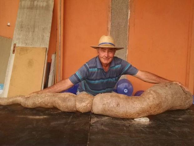 Aposentado encontrou mandioca de 2,18 metros e 39 quilos (Foto: Tiago Queiroz/Vanguarda Repórter)