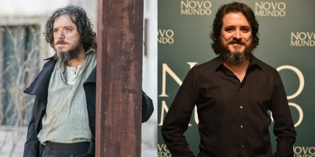 Guilherme Piva como Licurgo e na coletiva de imprensa (Foto: Globo/João Miguel Júnior | Globo/Mauricio Fidalgo)