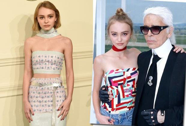Assim como a mãe, Vanessa Paradis, Lily-Rose Depp já posou para a Chanel e é amiga de Karl Lagerfeld (Foto: Reprodução/Instagram/Getty Images)