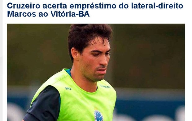 cruzeiro confirma empréstimo de marcos para o vitória (Foto: Reprodução/Site oficial do Cruzeiro)