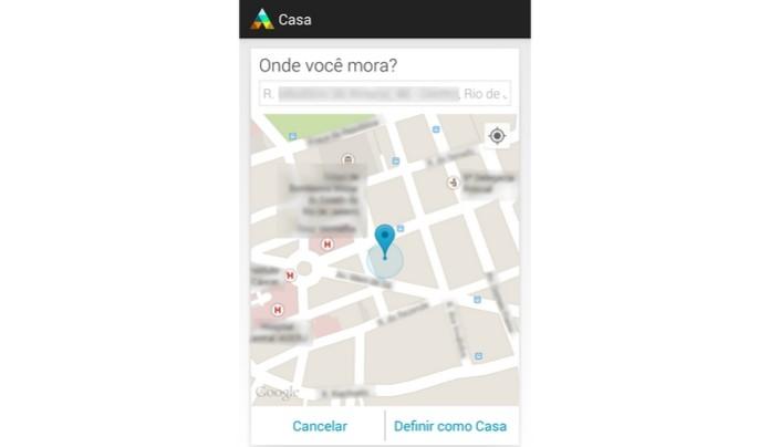 Endereço de casa digitado no mapa do Google aberto pelo Assist (Foto: Reprodução/Raquel Freire)