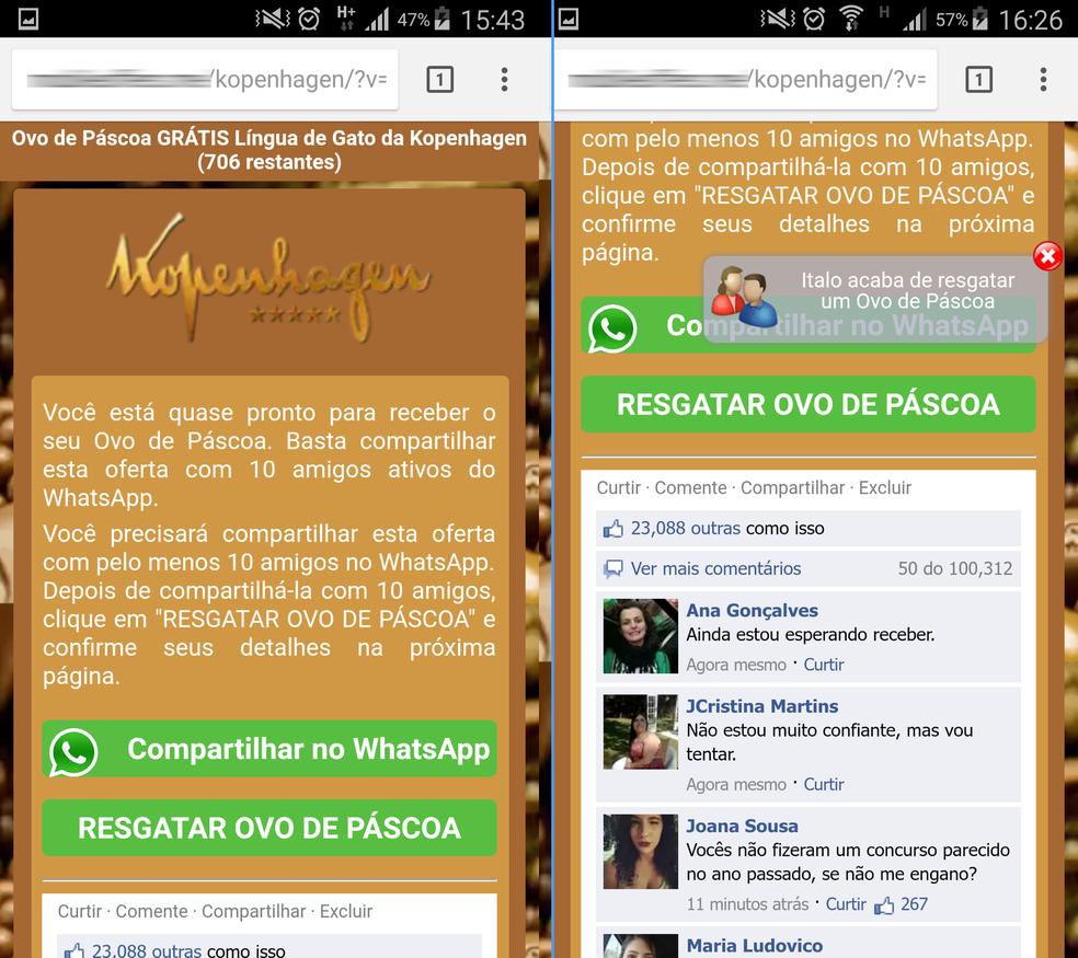 Página oferece resgate de ovo de Páscoa (Foto: Divulgação/PSafe)