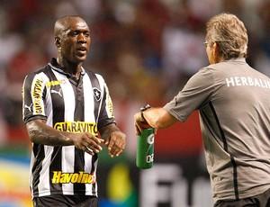 Seedorf e Oswaldo de Oliveira na partida do Botafogo e Flamengo (Foto: Márcio Alves / Ag. O Globo)