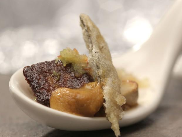 Foie gras com ourio, do participante Henrique Ide (Foto: Divulgao/Tricia Vieira)