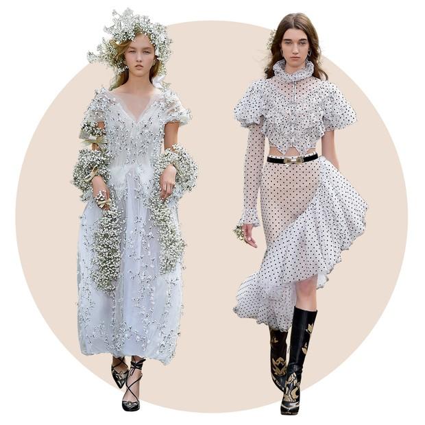 Rodarte: As irmãs Kate e Laura Mulleavy apresentaram roupas semi-habillé etéreas e, ao mesmo tempo, ultradecoradas (Foto:  Francois G. Durand/Getty Images, Imaxtree e Divulgação)