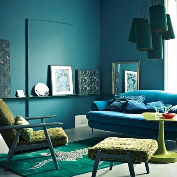 Sala De Estar Na Cor Azul ~ Sala azul 16 ideias para apostar no tom (Foto Reprodução)