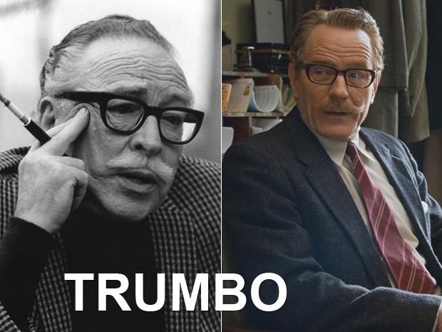 À esquerda, o roteirista Dalton Trumbo, e, à dir., Bryan Cranston em 'Trumbo: Lista negra' (Foto: MGM/The Kobal Collection e Divulgação)