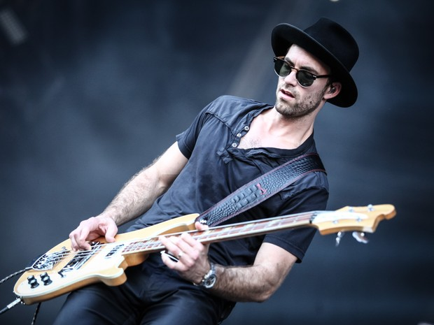 John Smith, baixista do Halestorm, toca no Palco Sunset no Rock in Rio 2015 (Foto: Fabio Tito/G1)