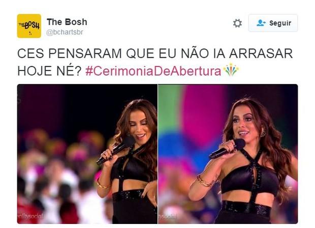Internautas comentam sobre Anitta na Olimpíada (Foto: Twitter / Reprodução)