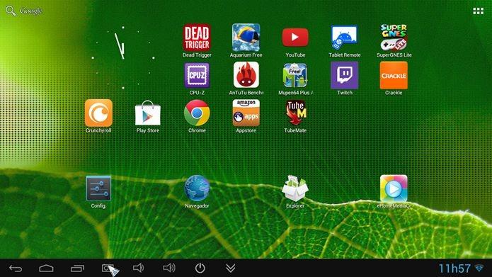 Interface do Newlink TV101 é idêntica à de um tablet com Android (Foto: Reprodução / Dario Coutinho)