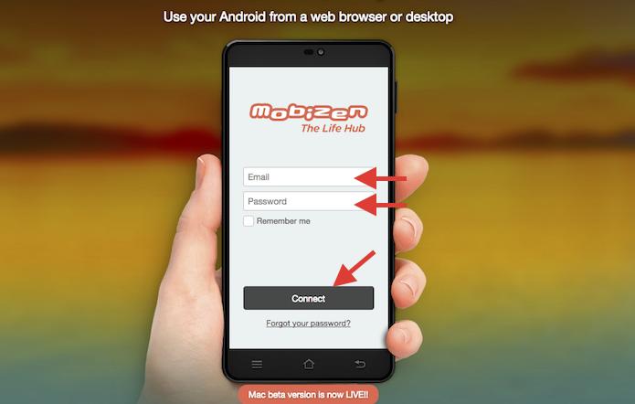 Realizando login no site Mobizen para espelhar a tela do Android no computador sem fios (Foto: Reprodução/Marvin Costa)