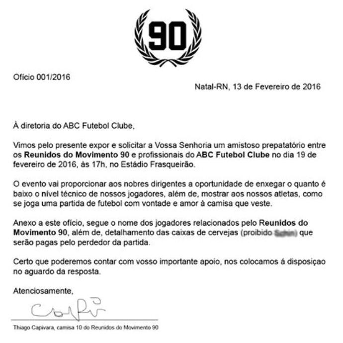 RN - carta protesto de torcida organziada do ABC (Foto: Reprodução)