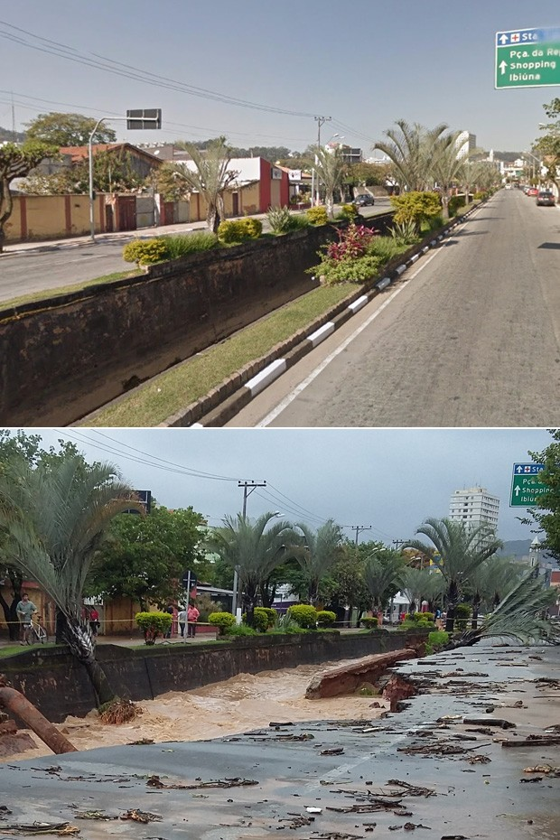 Veja antes e depois de avenida em São Roque (Foto: Google Maps/Reprodução e Lo-ruama Teixeira/Arquivo Pessoal )