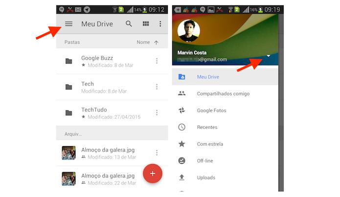 Acessando a página para gerenciar e adicionar uma nova conta do Google Drive para Android (Foto: Reprodução/Marvin Costa)