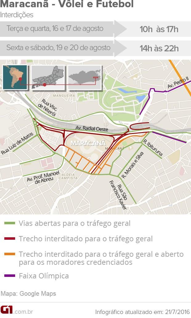 Ruas serão interditadas no entorno do Maracanã durante jogos olímpicos no estádio (Foto: Arte G1 Rio)
