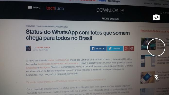 c691e9fd6 Função de Status do WhatsApp é semelhante ao Instagram (Foto   Reprodução Barbara Mannara