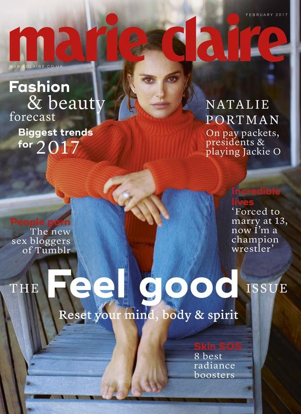 Natalie Portman na capa da edição de fevereiro da Marie Claire britânica (Foto: Reprodução / Marie Claire)