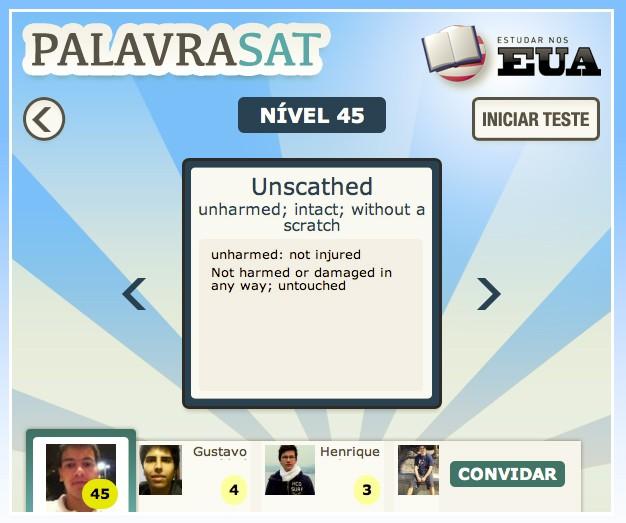 No jogo 'Estudar nos EUA', disponível no Facebook, estudantes podem praticar trechos do SAT e comparar seus resultados com o de amigos (Foto: Reprodução)