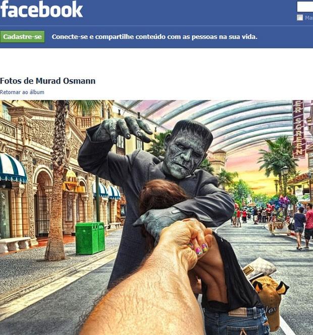 Foto de Murad Osmann para projeto Follow Me com Frankenstein- vertical (Foto: Reprodução/Facebook)