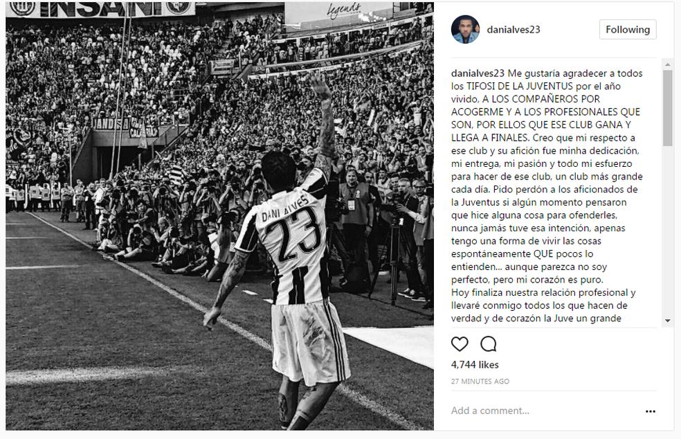 Daniel Alves se despede da Juventus (Foto: Reprodução/Instagram)