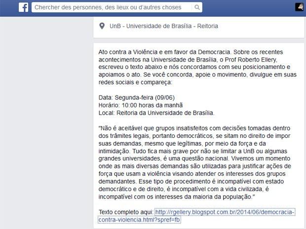 Trecho de texto do professor Roberto Ellery, contra invasão à reitoria da UnB (Foto: Facebook/Reprodução)