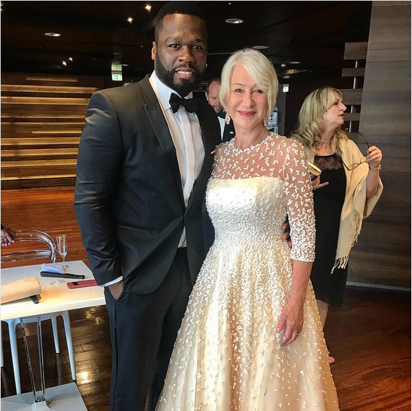 O rapper 50 Cent e a atriz Helen Mirren (Foto: Instagram)