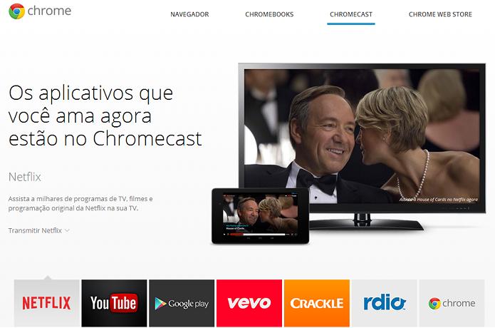 Acesse o site do Chromecast (Foto: Reprodução/Google) (Foto: Acesse o site do Chromecast (Foto: Reprodução/Google))