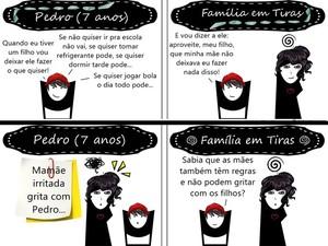 Tirinhas feitas pela servidora pública Julianna Rodrigues (Foto: Família em Tiras/ Divulgação)