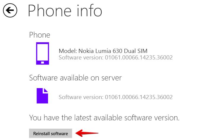 Clique sobre o botão para reinstalar o Windows Phone (Foto: Reprodução/Helito Bijora)