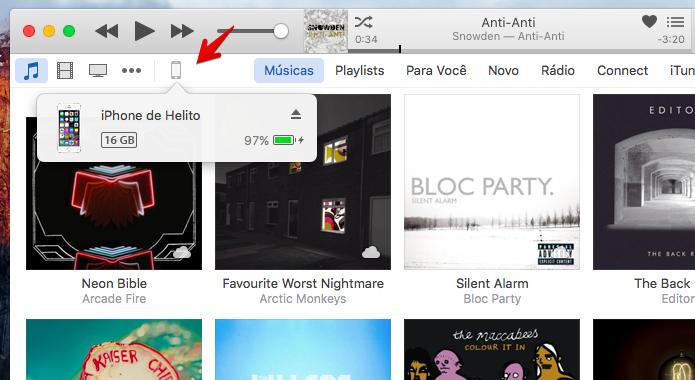 Aba o iTunes e acesse as configurações do iPhone (Foto: Reprodução/Helito Bijora)