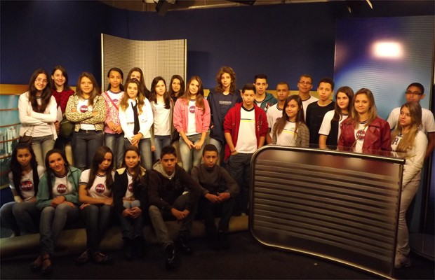 Estudantes classificados de Orlândia no projeto EPTV na Escola (Foto: Daniela Rezende/Globo.com)